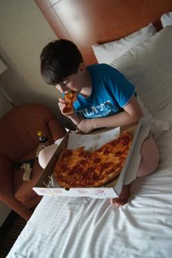 Een medium pizza