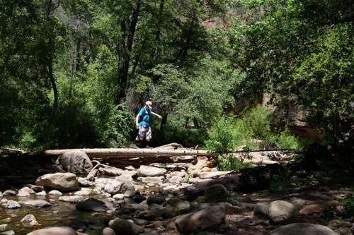 Kees steekt Oak Creek over