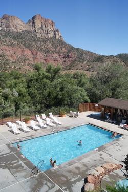 Uitzicht vanuit hotelkamer in Best Western Zion Park Inn