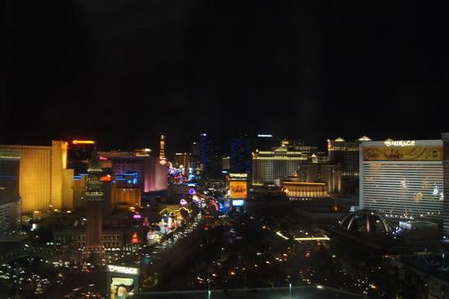 Uitzicht vanuit onze hotelkamer 's avonds