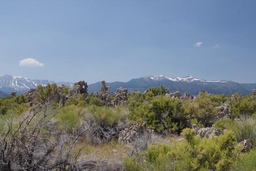 Tufa's op het land met op de achtergrond de bergen